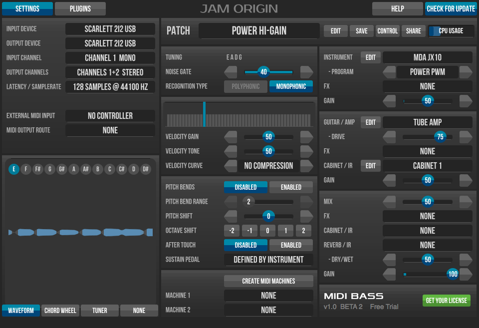midi bass beta 3 vst au plugins jam origin. Black Bedroom Furniture Sets. Home Design Ideas